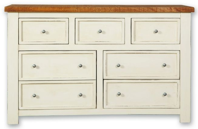 Kaveri Distressed Painted Wide Chest of Drawer - 7 Drawer