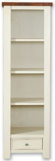 Kaveri Distressed Painted Bookcase - Slim