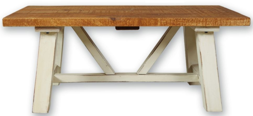 Kaveri Distressed Painted Trestle Coffee Table