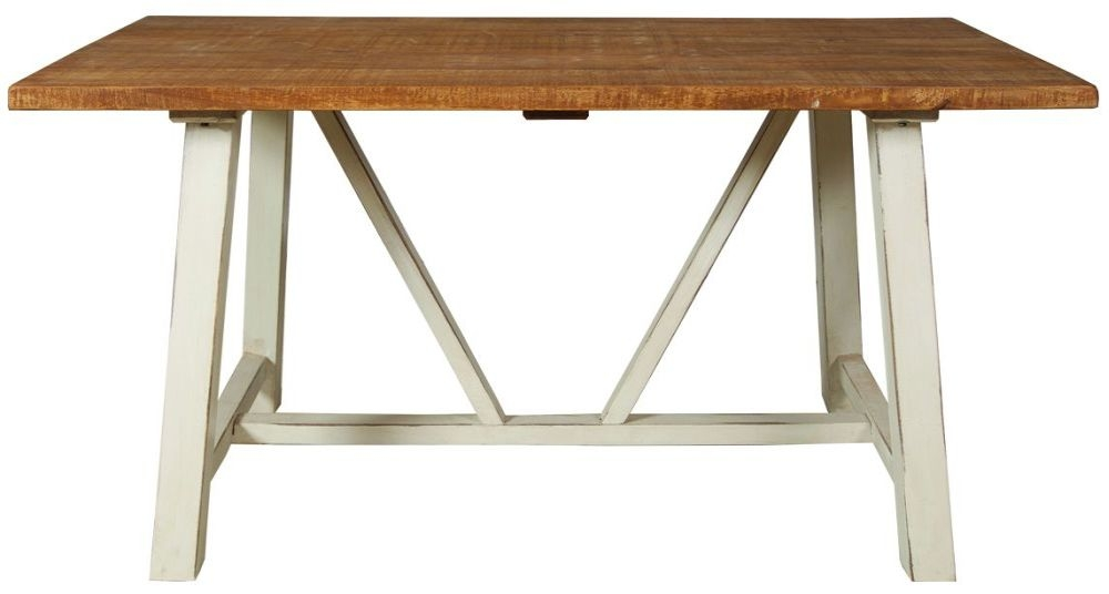 Kaveri Distressed Painted Trestle Dining Table