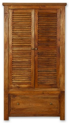 Modasa Mango Wooden Wardrobe - 2 Door 1 Drawer