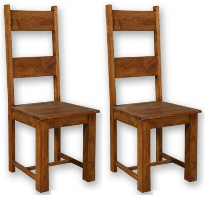 modasa mango wooden dining chair ladder back pair
