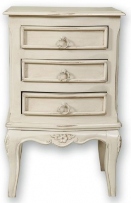 Paris Off White Bedside Cabinet - 3 Drawer