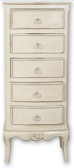 Paris Off White Tall Chest of Drawer - 5 Drawer