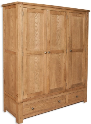 Perth Country Oak Wardrobe - 3 Door 2 Drawer
