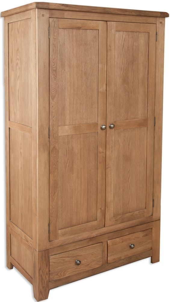 Perth Country Oak 2 Door 2 Drawer Wardrobe