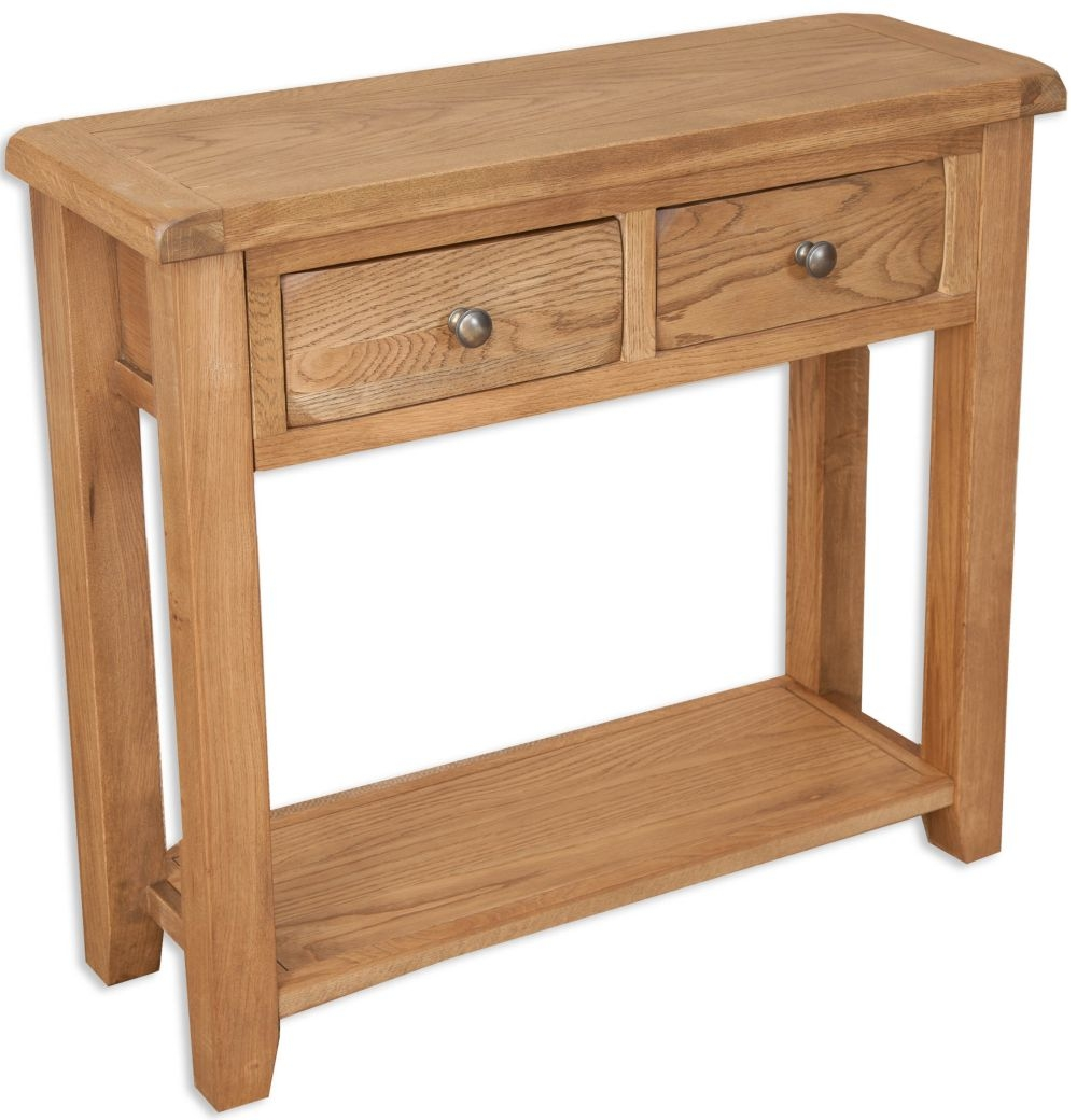 Perth Country Oak Console Table - 2 Drawer