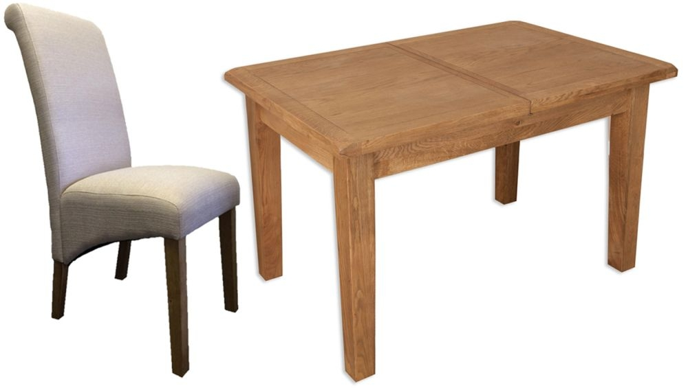 Perth Country Oak Dining Set with 6 Fabric Chairs - Extending