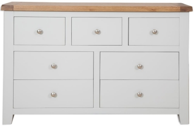 Perth French Grey Chest of Drawer - Wide 7 Drawer