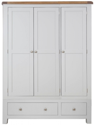 Perth French Grey Wardrobe - 3 Door 2 Drawer