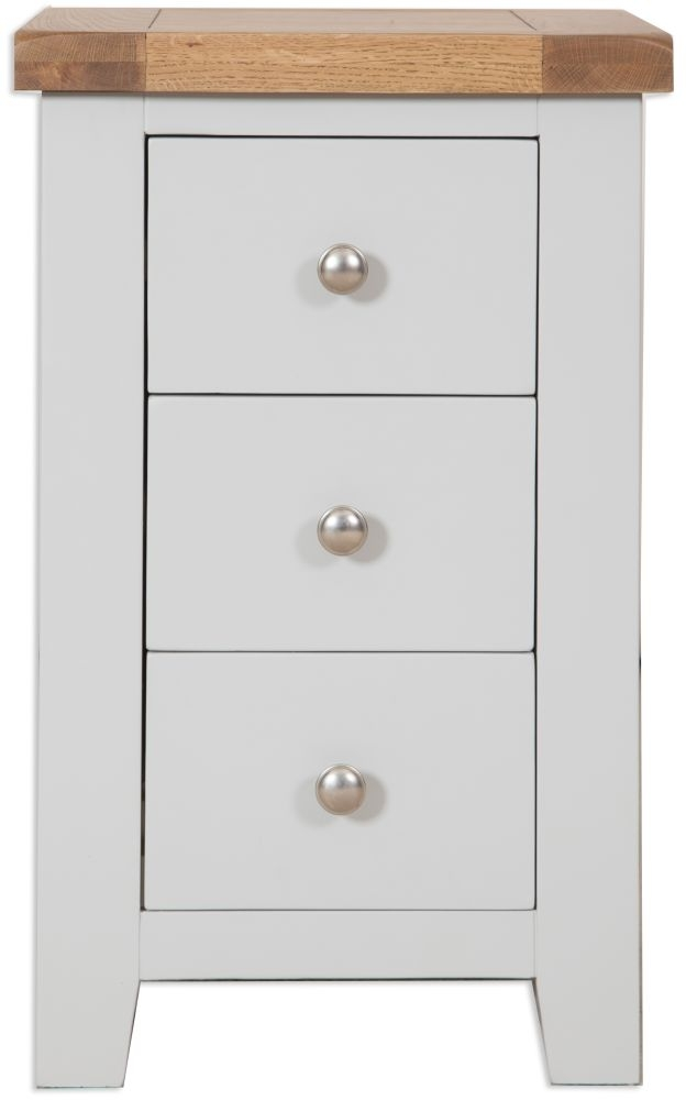 Perth Oak and Grey Painted Bedside Cabinet - 3 Drawer