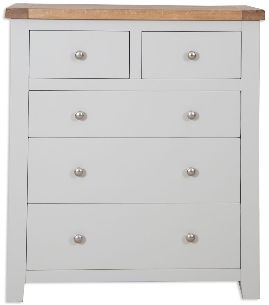 Perth Oak and Grey Painted Chest of Drawer - 2+3 Drawer