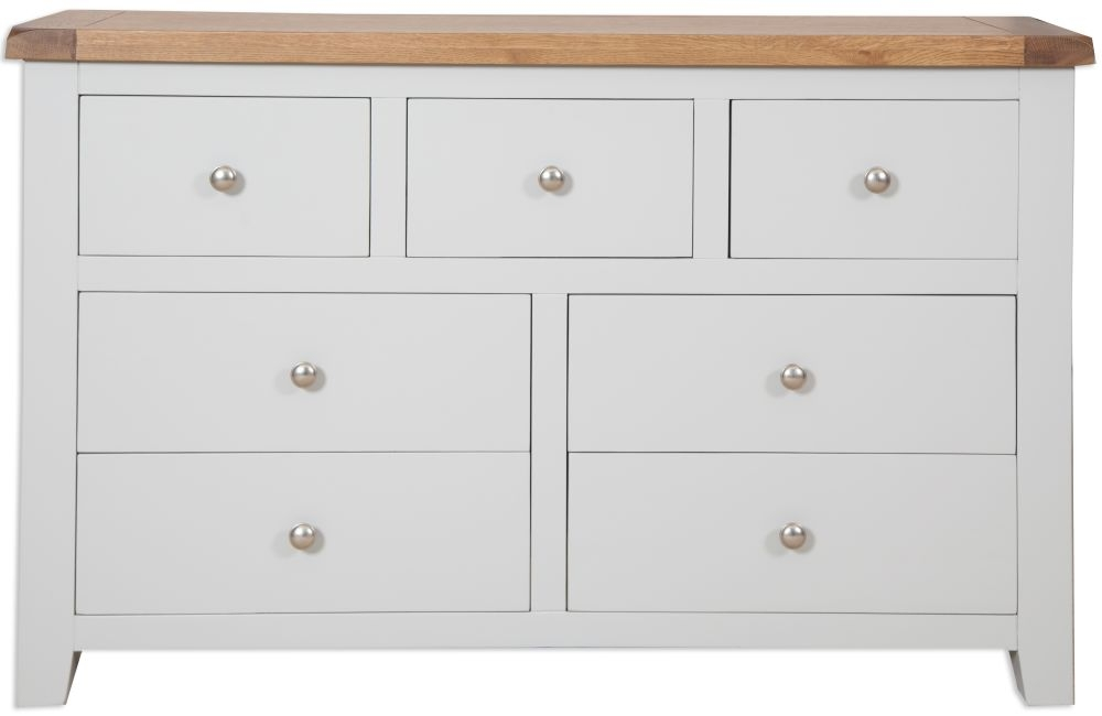 Perth 7 Drawer Wide Chest - Oak and French Grey Painted