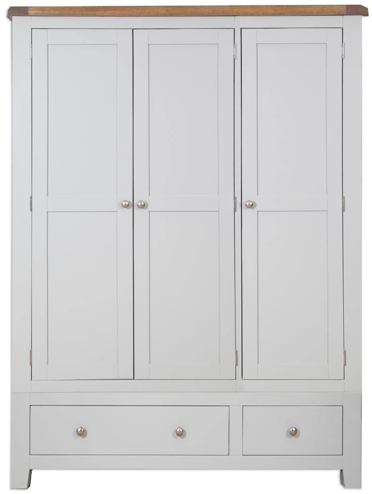 Perth Oak and Grey Painted Wardrobe - 3 Door 2 Drawer