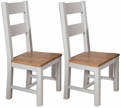 Perth Dining Chair (Pair) - Oak and French Grey Painted