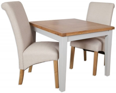 Perth Dining Table and 4 Fabric Chairs - Oak and French Grey Painted