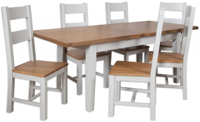 Perth Extending Dining Table and 6 Wooden Chairs - Oak and French Grey Painted