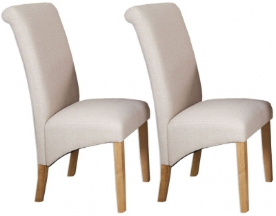 Perth French Grey Fabric Dining Chair (Pair)