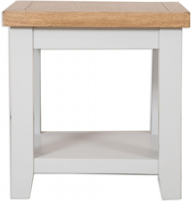 Perth Lamp Table - Oak and French Grey Painted
