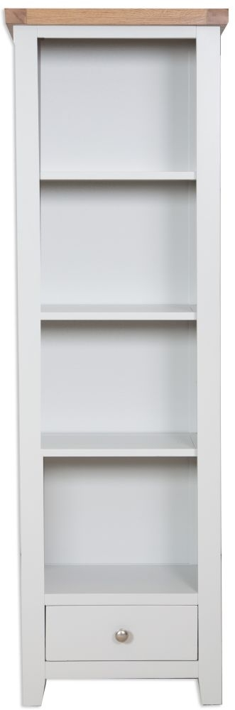 Perth Oak and Grey Painted Bookcase - Slim