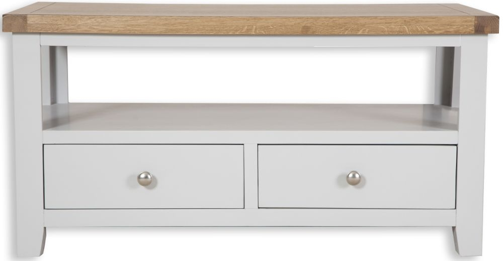 Perth Oak and Grey Painted Coffee Table - 2 Drawer
