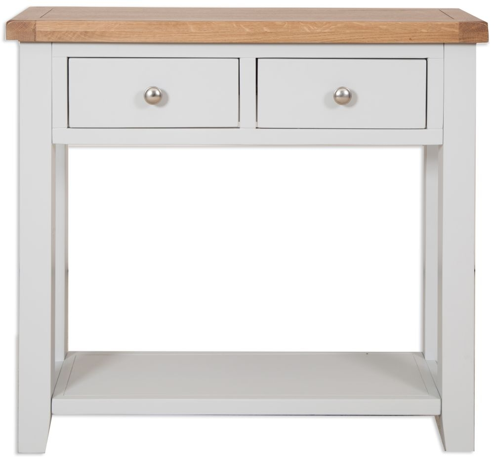 Perth Oak And Grey Painted Console Table   2 Drawer