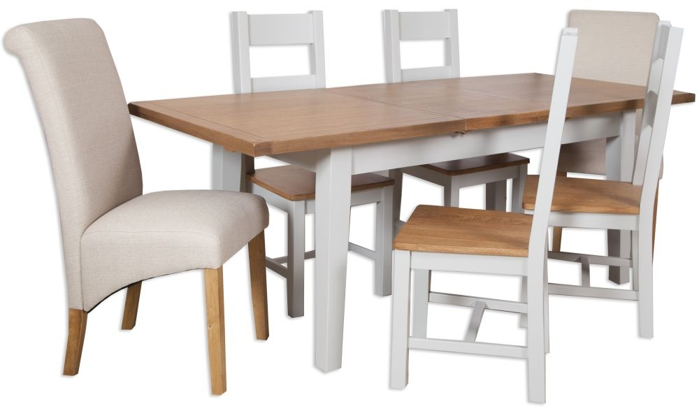 Perth Oak and Grey Painted Dining Set - Extending with 4 Wooden and 2 Fabric Chairs