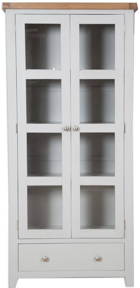 Perth Display Cabinet - Oak and French Grey Painted