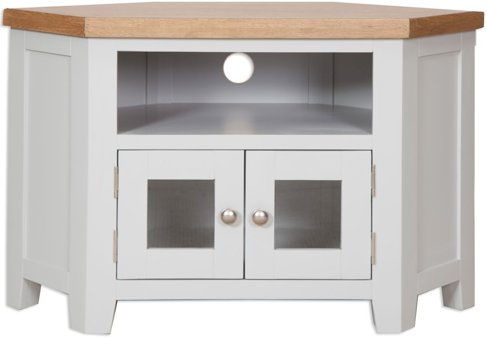 Perth Oak and Grey Painted Glazed TV Cabinet