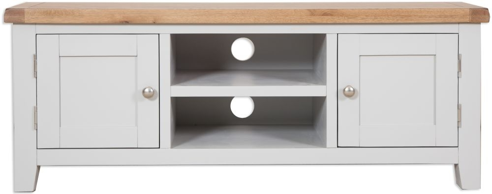 Perth Plasma TV Cabinet - Oak and French Grey Painted