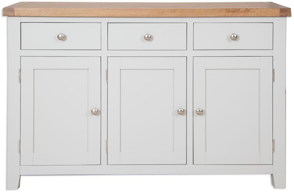 Perth Oak and Grey Painted Sideboard - 3 Door
