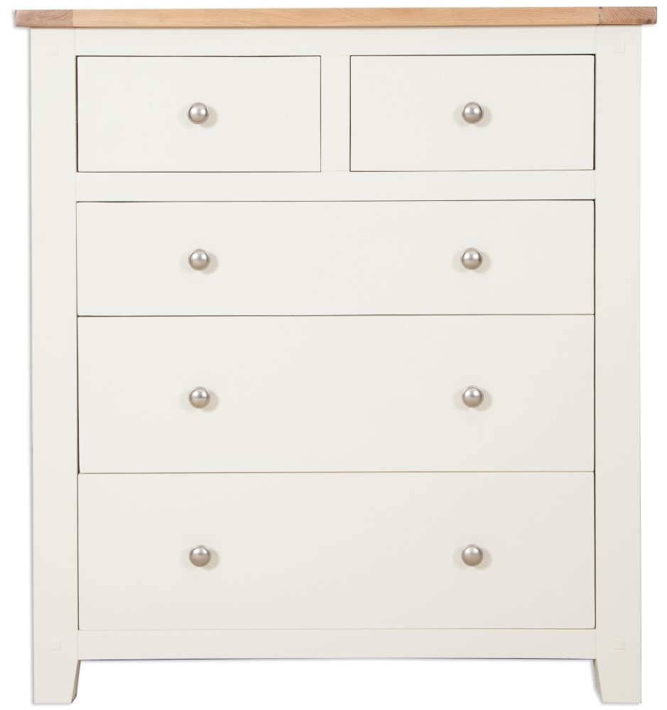 Perth 2+3 Drawer Chest - Oak and Ivory Painted