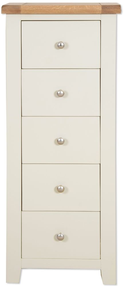 Perth 5 Drawer Tall Chest - Oak and Ivory Painted
