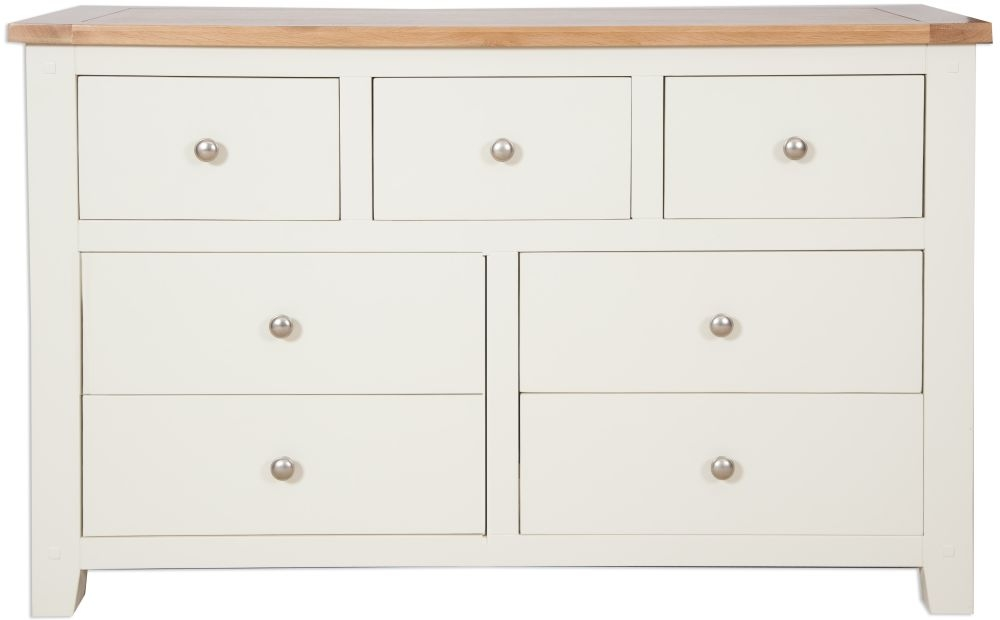 Perth 7 Drawer Wide Chest - Oak and Ivory Painted