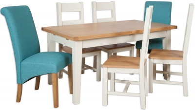 Perth Extending Dining Table with 4 Wooden and 2 Fabric Chairs - Oak and Ivory Painted