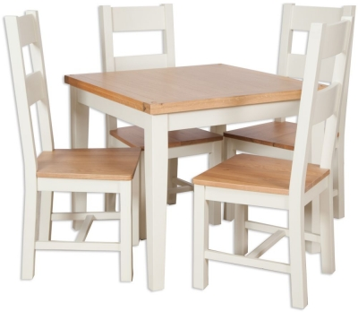 Perth Dining Table and 4 Chair - Oak and Ivory Painted