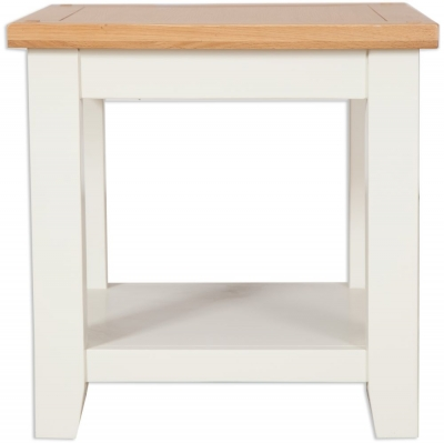 Perth Lamp Table - Oak and Ivory Painted