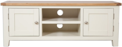 Perth Plasma TV Cabinet - Oak and Ivory Painted