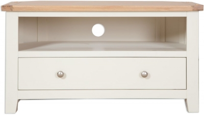 Perth Corner TV Cabinet - Oak and Ivory Painted
