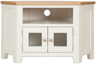 Perth TV Cabinet - Oak and Ivory Painted
