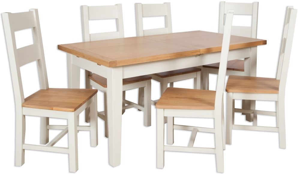 Perth Extending Dining Table and 6 Chair - Oak and Ivory Painted