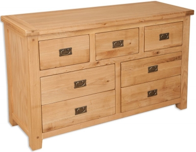 Perth Natural Oak Chest of Drawer - Wide 7 Drawer