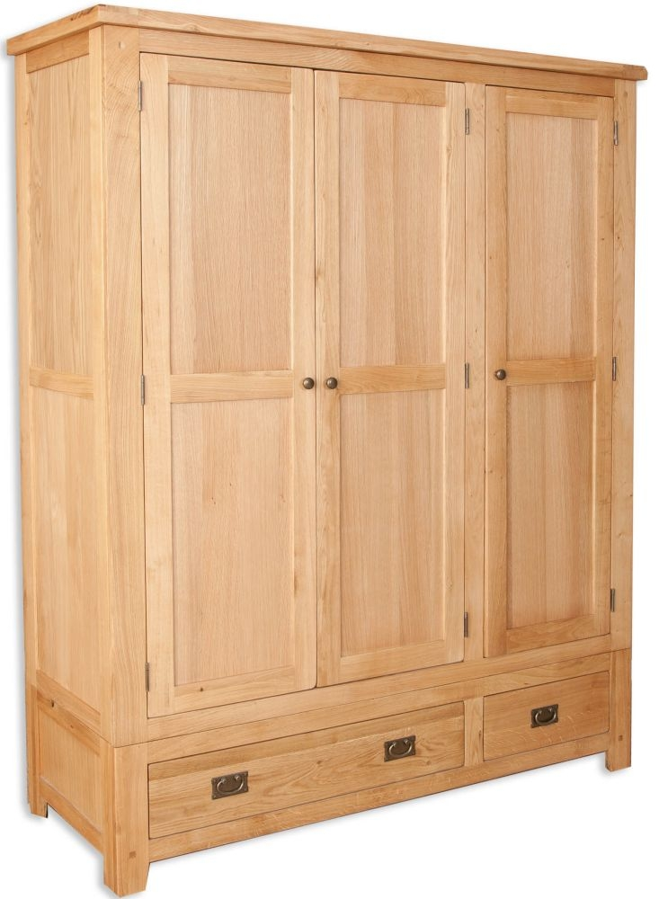 Perth Natural Oak Wardrobe - 3 Door 2 Drawer
