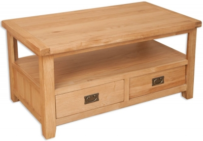 Perth Natural Oak Coffee Table - 2 Drawer