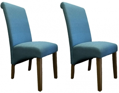 Perth Natural Oak Fabric Dining Chair (Pair)
