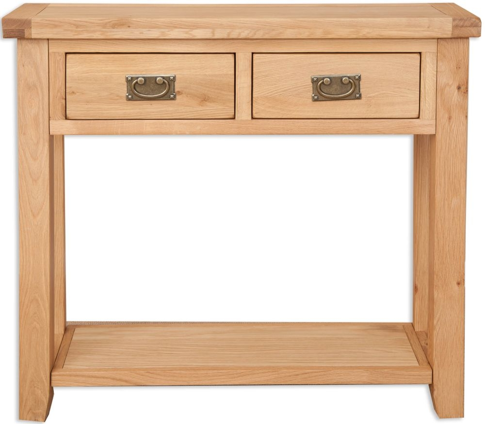 Perth Natural Oak Console Table - 2 Drawer