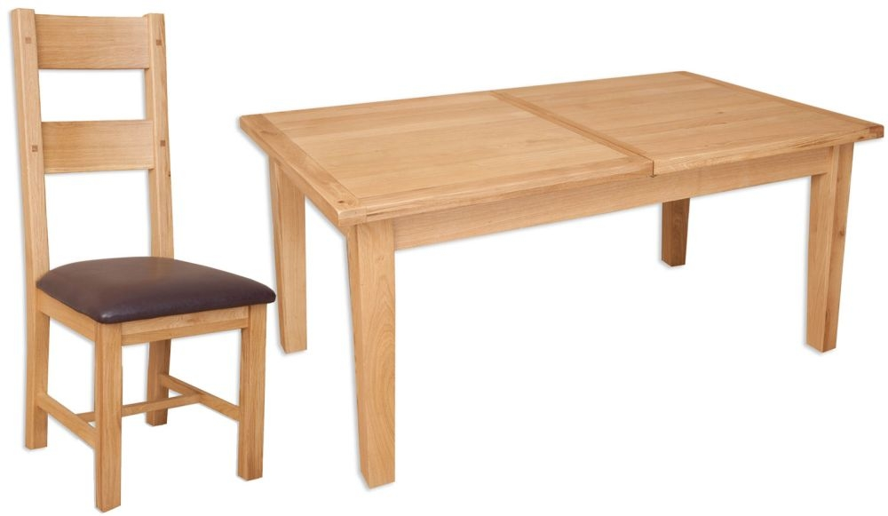 Buy Perth Natural Oak Dining Set With 6 Chairs Extending