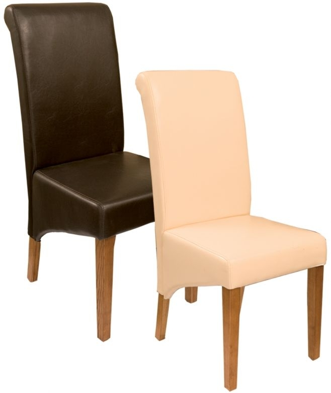 Perth Natural Oak Leather Dining Chair (Pair)