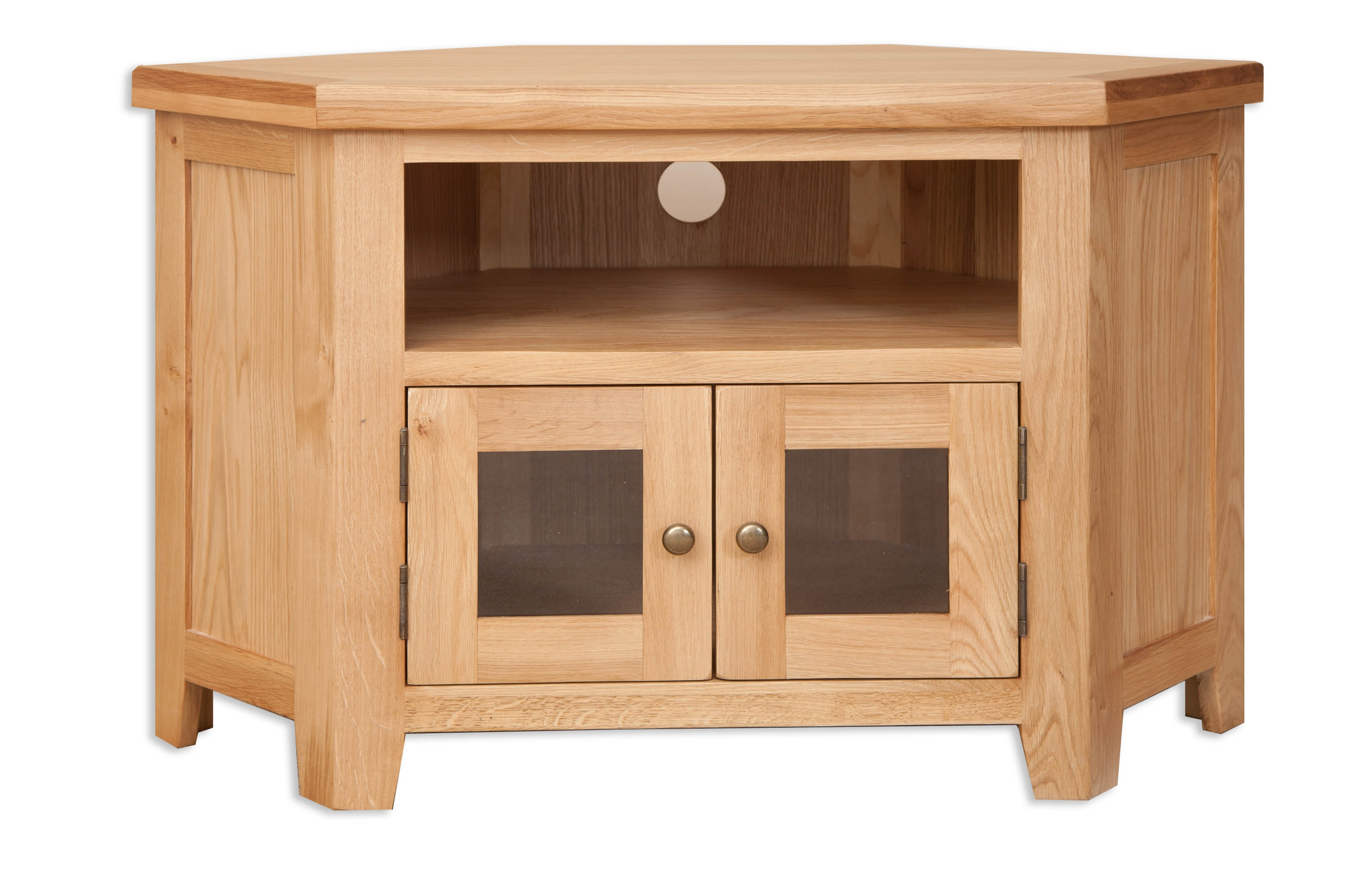 Perth Natural Oak Glazed TV Cabinet
