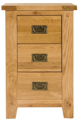 Perth Oak Bedside Cabinet - 3 Drawer
